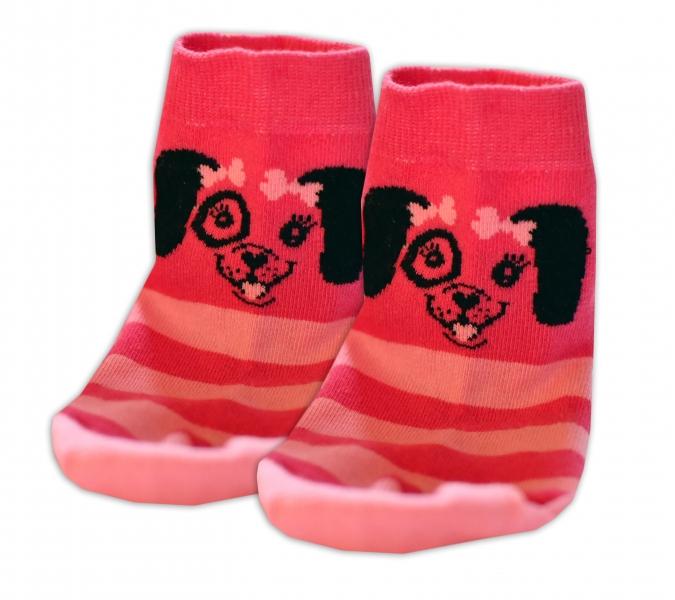 Baby Nellys Bavlnené ponožky Psík mašlička - růžové, veľ. 15-16cm