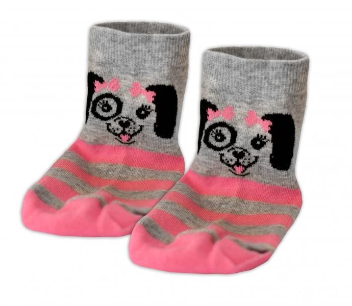 Baby Nellys Bavlnené ponožky Psík mašlička - sivé/ružový prúžok, veľ. 13-14 cm