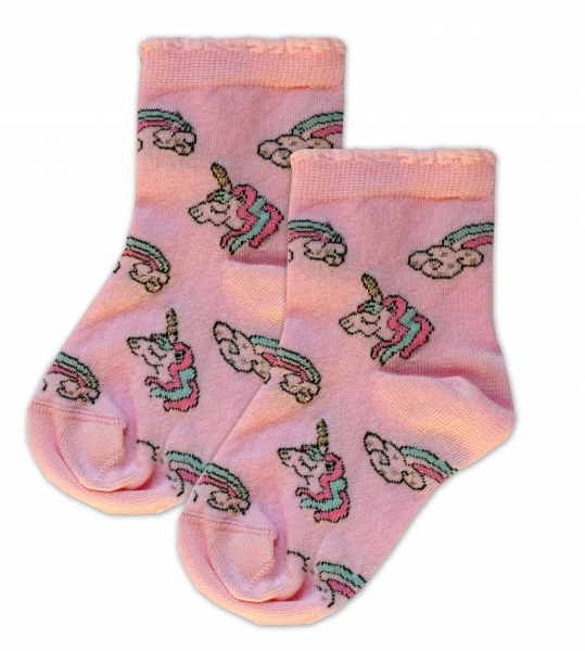 Baby Nellys Bavlnené ponožky Jednorožci - ružové, veľ. 17-18 cm