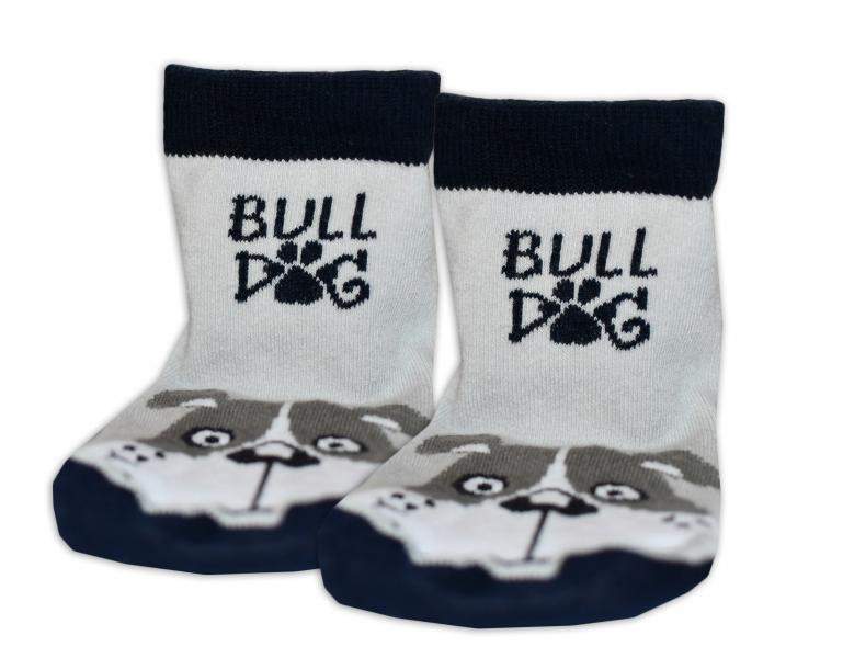 Baby Nellys Bavlnené ponožky Bull dog - sivo/čierne, veľ. 17-18cm