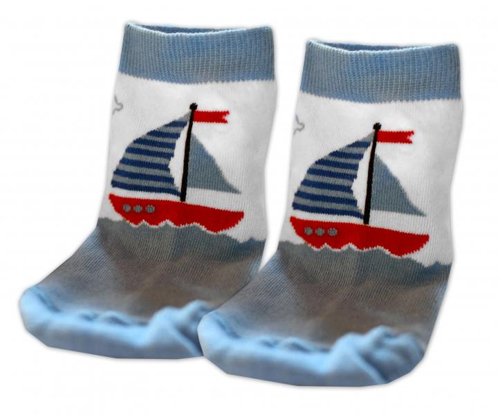 Baby Nellys Bavlnené ponožky Plachetnice- modré, veľ. 17-18 cm