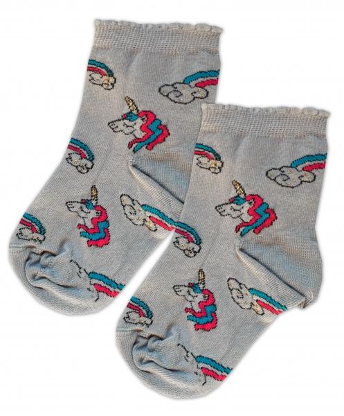 Baby Nellys Bavlnené ponožky Jednorožci - sivé, veľ. 15-16cm