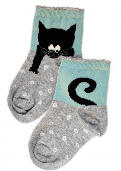 Baby Nellys Bavlnené ponožky Kocúr - sivo/mätové, veľ. 17-18 cm
