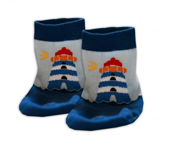 Baby Nellys Bavlnené ponožky Majak - modré/sv. modré, veľ. 15-16cm