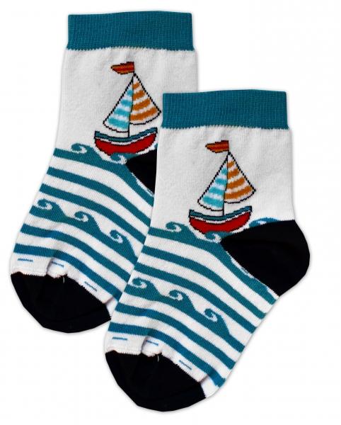 Bavlnené ponožky Plachetnice - tyrkysové prúžky, veľ. 17-18cm