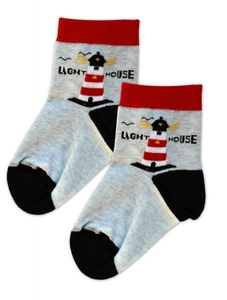 Baby Nellys Bavlnené ponožky Majak - červeno/čierno/modrý melírek, veľ. 17-18 cm