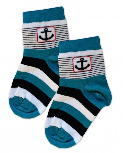 Baby Nellys Bavlnené ponožky Kotva - tyrkys / čierno-biele prúžky, veľ. 17-18cm