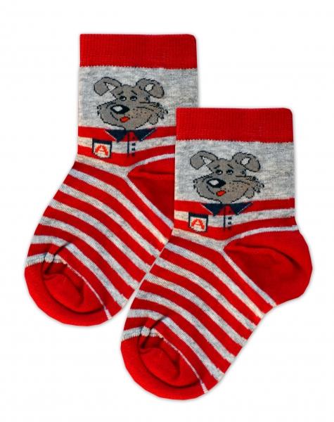 Baby Nellys Bavlnené ponožky Psík - šedo/červené prúžky, veľ. 15-16 cm