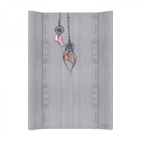 Prebaľovacia podložka Ceba, tvrdá - na postieľku 120x60 cm, Denim Catcher - šedá, 50x70cm