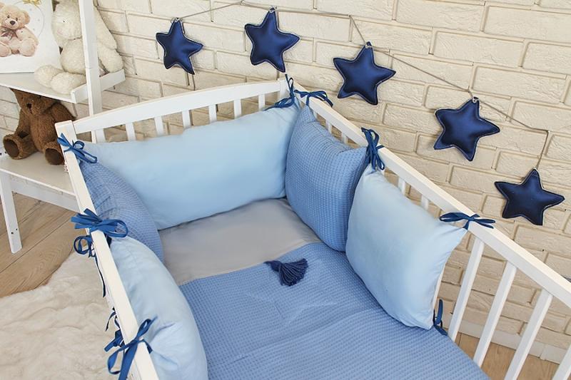 Baby Nellys Sada vankúšikový mantinel Vafel s obliečky - modrá, 135x100 cm