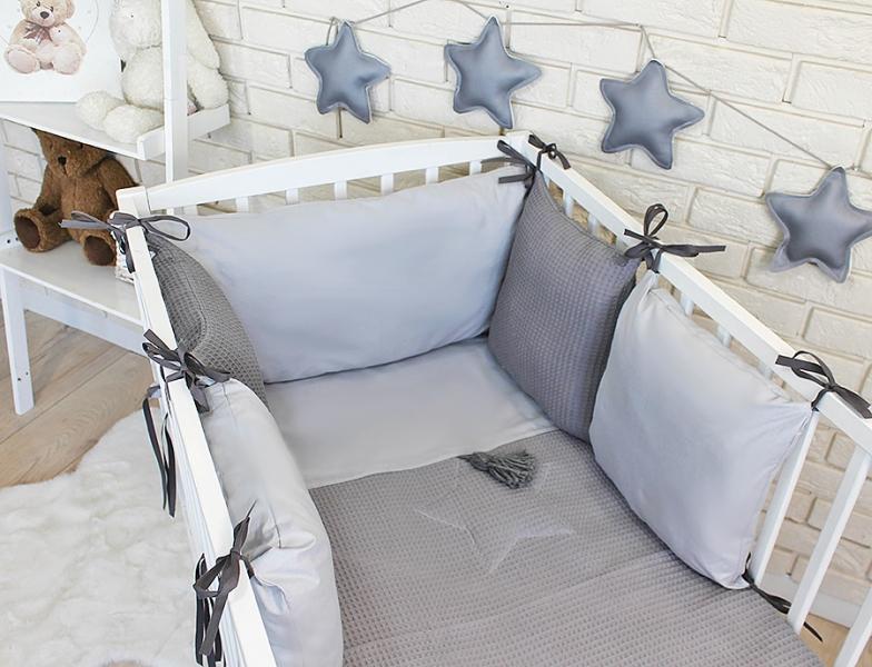 Baby Nellys Sada vankúšikový mantinel Vafel s obliečky - šedá, 135 x 100 cm