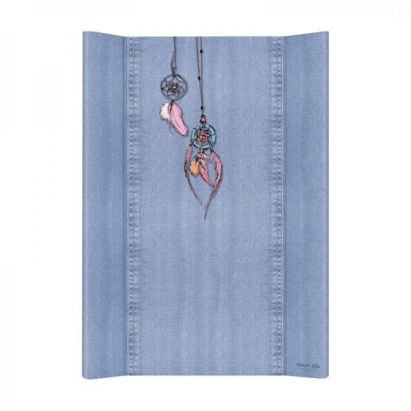 Prebaľovacia podložka Ceba, tvrdá - na postieľku 120x60 cm, Denim Catcher - modrá, 50x80cm
