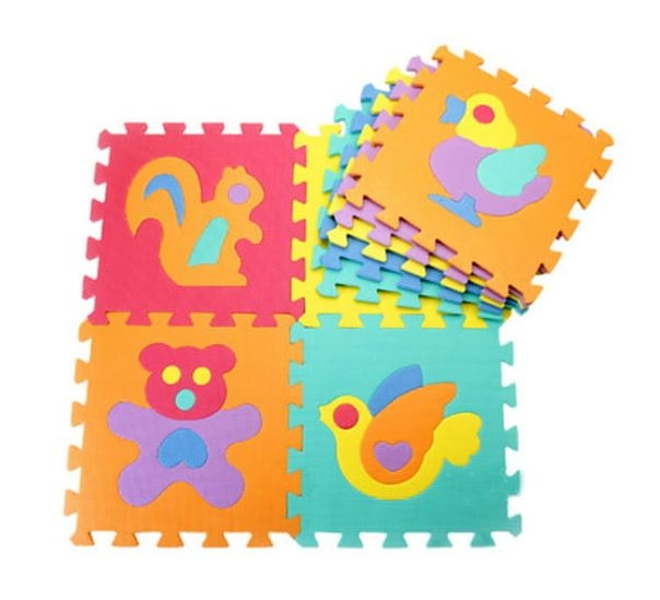 Penové puzzle zvieratká, 10 ks, 29 x 29 x 0,9 cm - zvieratká