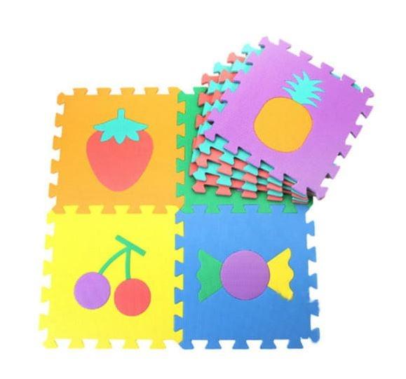 Penové puzzle zvieratká, 10 ks, 29 x 29 x 0,9 cm - ovocie