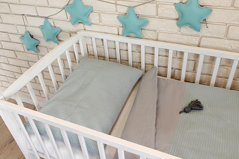 Baby Nellys 3 dielna sada Mantinel s obliečkami vafelek - mätová, 120x90 cm