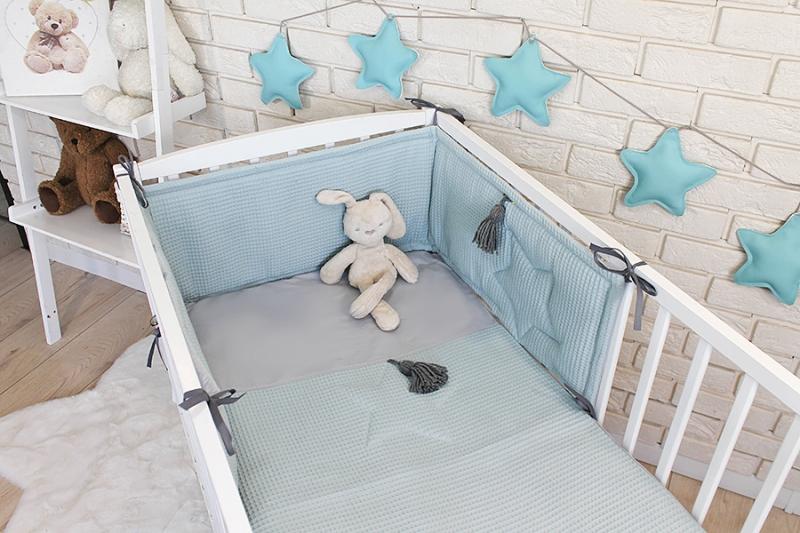 Baby Nellys 3 dielna sada Mantinel s obliečkami vafelek - mätová, 135 x 100 cm