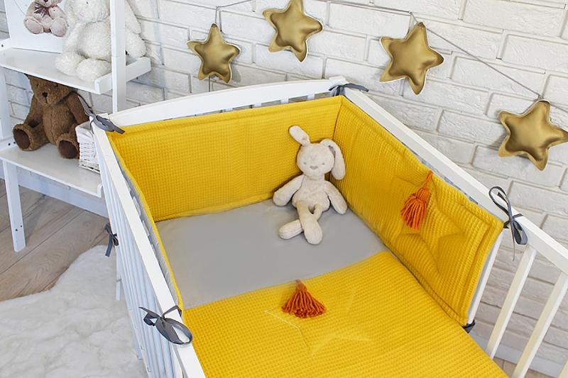 Baby Nellys 3 dielna sada Mantinel s obliečkami vafelek - horčicová, 135 x 100 cm