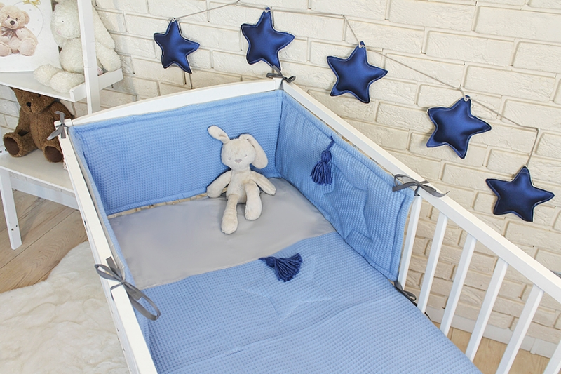 Baby Nellys 3 dielna sada Mantinel s obliečkami vafelek - modrá