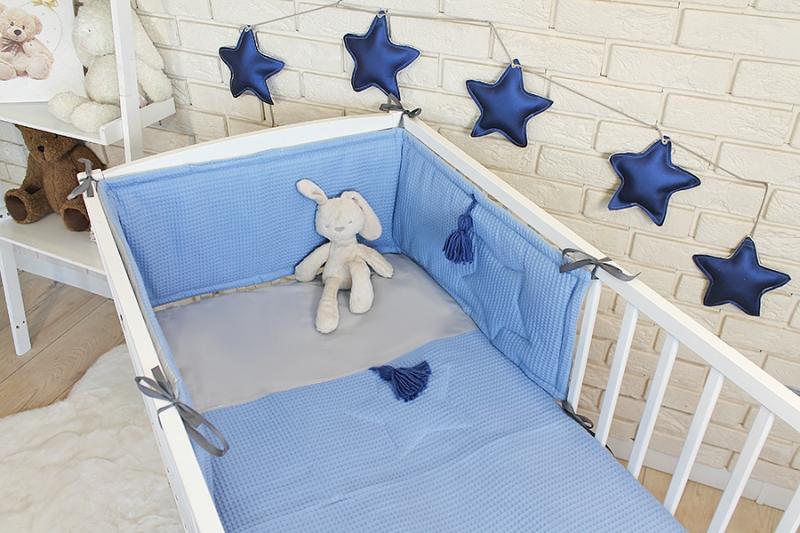 Baby Nellys 3 dielna sada Mantinel s obliečkami vafelek - modrá, 135 x 100 cm
