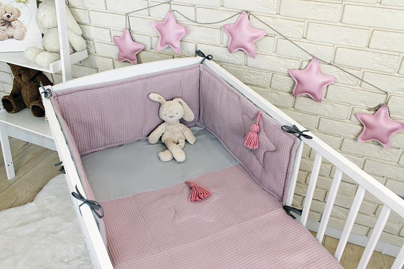 Baby Nellys 3 dielna sada Mantinel s obliečkami vafelek - ružová, 135 x 100 cm