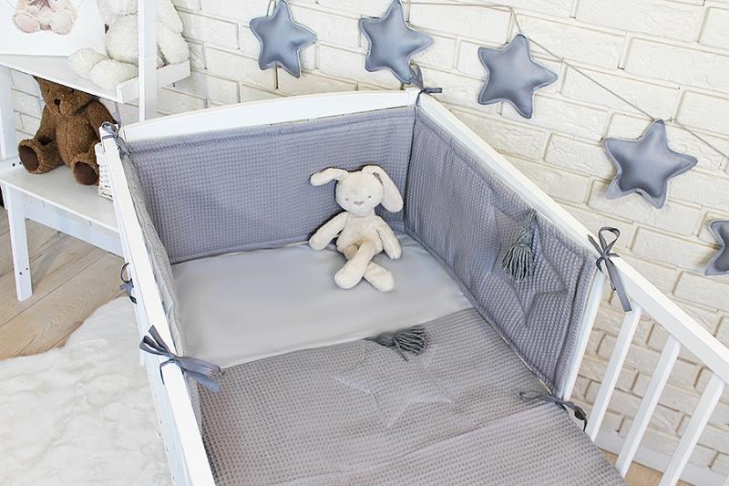 Baby Nellys 3 dielna sada Mantinel s obliečkami vafelek - šedá, 135 x 100 cm