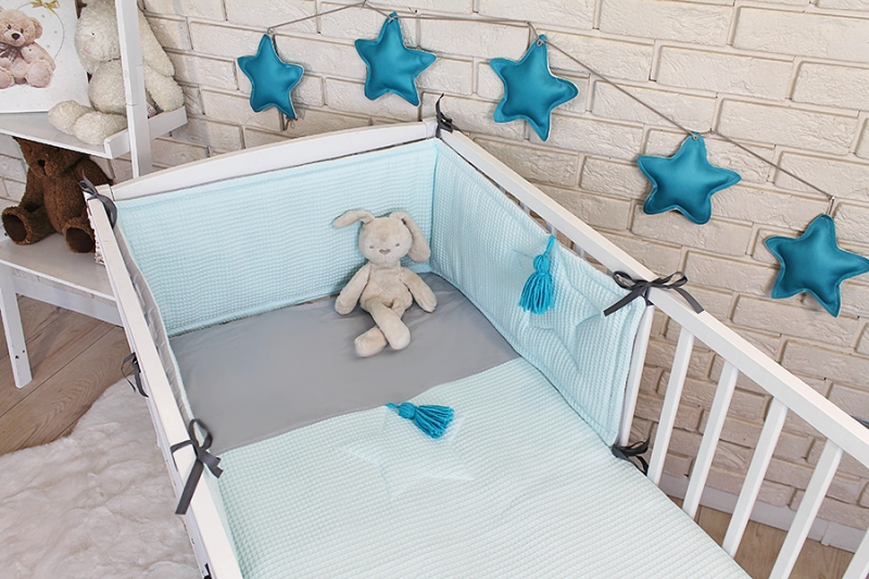 Baby Nellys 3 dielna sada Mantinel s obliečkami vafelek - tyrkys, 135 x 100 cm