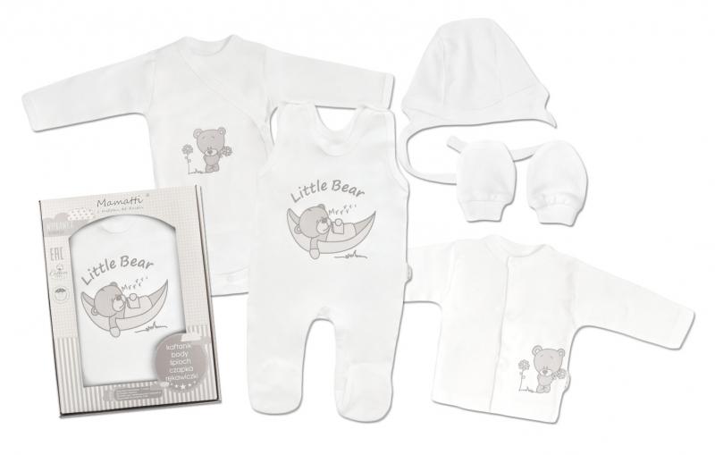 Mamatti Novorodenecká súprava do pôrodnice, biela - Medvedík, veľ. 62-#Velikost koj. oblečení;62 (2-3m)