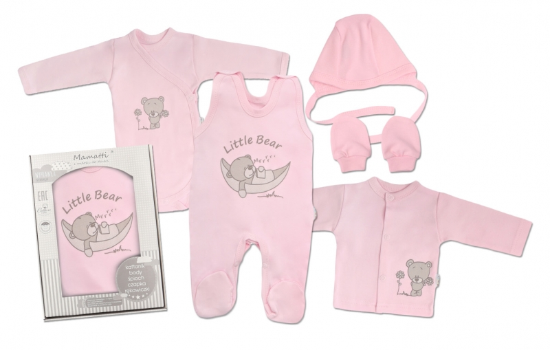 Mamatti Novorodenecká súprava do pôrodnice, ružová - Medvedík, veľ. 62-#Velikost koj. oblečení;62 (2-3m)
