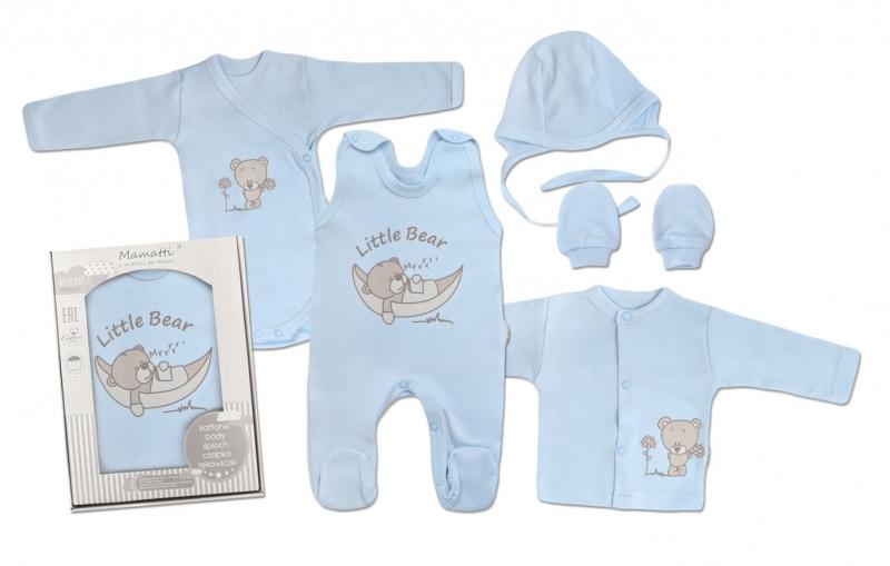 Mamatti Novorodenecká súprava do pôrodnice, modrá - Medvedík, velˇ. 62-#Velikost koj. oblečení;62 (2-3m)
