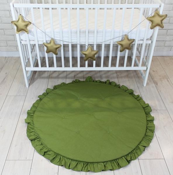 Baby Nellys Detská hracia podložka, koberček s volánikom - olivová