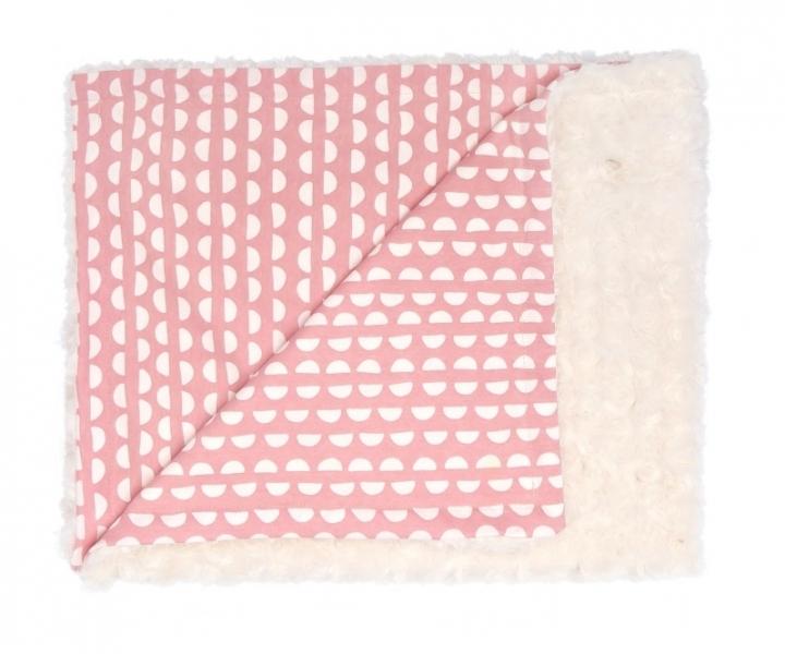 Mamatti Detská deka, dečka minky Hello, 75 x 90 cm, smotanová, korál