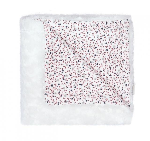 Mamatti Detská deka, dečka minky Mouse, 75 x 90 cm, biela, mini kytičky