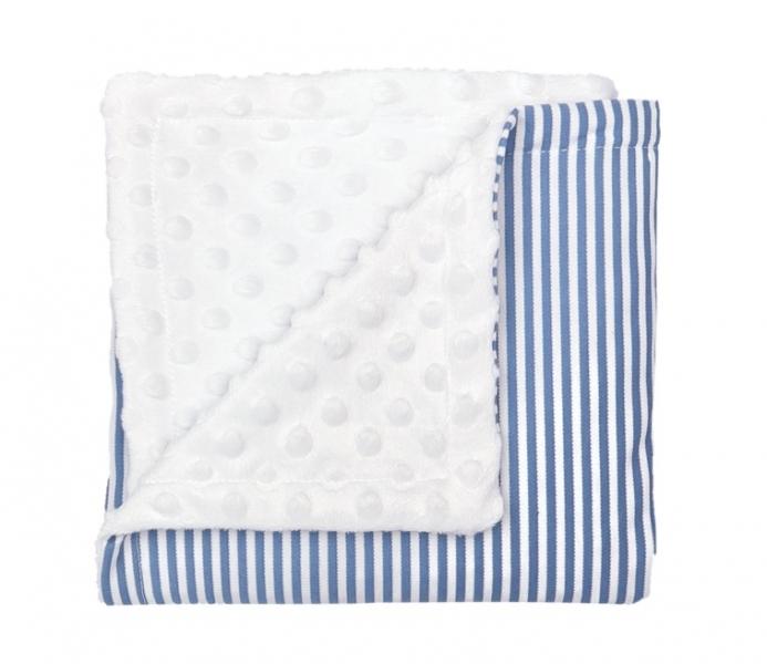 Mamatti Detská deka, dečka minky World, 75 x 90 cm, biela, modré pásiki