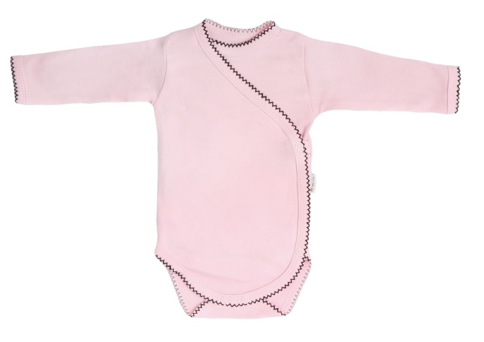 Mamatti Dojčenské body dlhý rukáv, zapínanie bokom, Bow - růžové