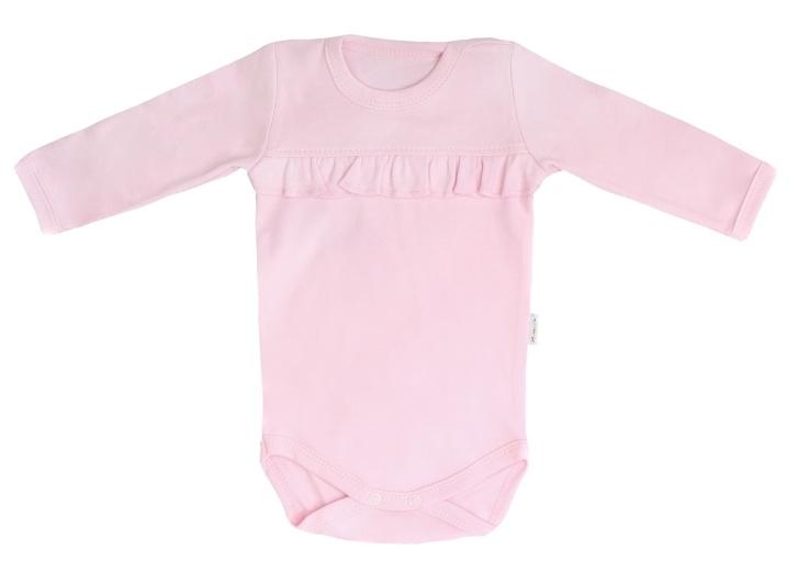 Mamatti Dojčenské body dlhý rukáv Bow, růžové, veľ. 68