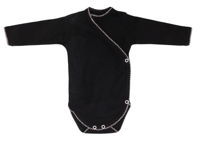 Mamatti Dojčenské body dlhý rukáv Bow, zapínanie bokom  - čierne