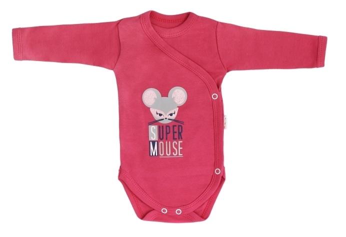 Mamatti Dojčenské body dlhý rukáv Mouse - čiervené