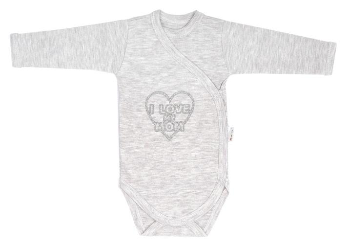 Mamatti Dojčenské body dlhý rukáv, zapínanie bokom, Hearts - šedé, melír