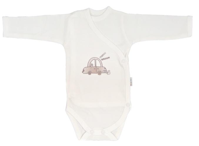 Mamatti Dojčenské body dlhý rukáv, zapínanie bokom, Car - smotana