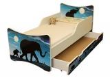 NELLYS Detská posteľ so zábranou a šuplík/y  Afrika - 180x90 cm