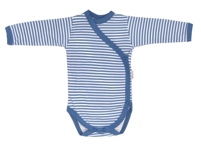 Mamatti Dojčenské body dlhý rukáv, zapínanie bokom, World - modrý pásik, veľ. 50