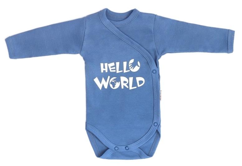 Mamatti Dojčenské body dlhý rukáv, zapínanie bokom, World - modré, veľ. 50