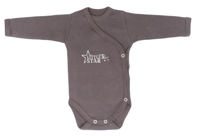 Mamatti Dojčenské body dlhý rukáv, zapinanie bokom, Star - šedé, veľ. 50