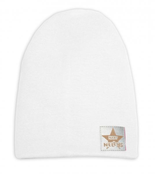 Baby Nellys Hand Made Jarná/jesenná bavlnená čiapka - dvojvrstvová, biela
