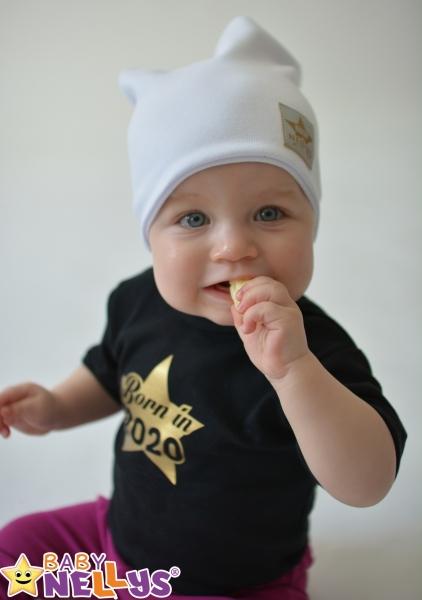 Baby Nellys Hand Made Jarná/jesenná bavlnená čiapka - dvojvrstvová, biela, 44-48 cm
