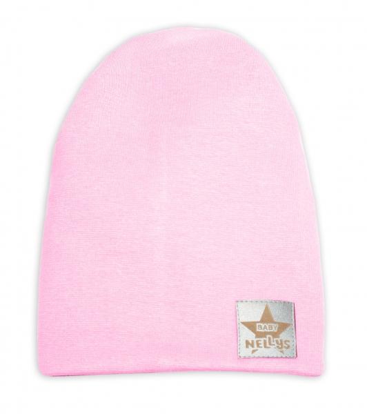 Baby Nellys Hand Made Jarná/jesenná bavlnená čiapka - dvojvrstvová, sv. růžová, 44-48 cm-3-7 let