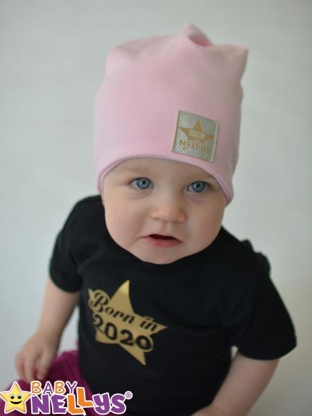 Baby Nellys Hand Made Jarná/jesenná bavlnená čiapka - dvojvrstvová, sv. růžová, 44-48 cm