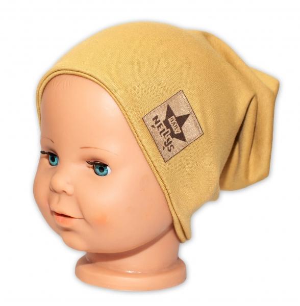 Baby Nellys Hand Made Jarná/jesenná bavlnená čiapka - dvojvrstvová, horčicová, 44-48 cm