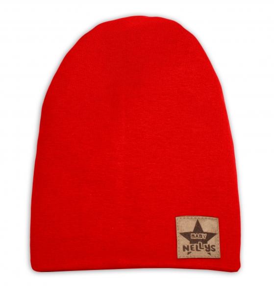 Baby Nellys Hand Made Jarná/jesenná bavlnená čiapka - dvojvrstvová, červená, 44-48 cm-3-7 let