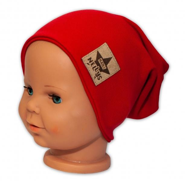Baby Nellys Hand Made Jarná/jesenná bavlnená čiapka - dvojvrstvová, červená, 44-48 cm